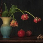 Stilleben mit drei Tulpen