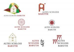 Entwicklung unterschiedlicher Logo-Varianten mit Schrift und signethaften Bildelementen, teils aus der Architektur des Hauses übernommen.
