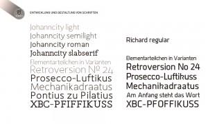Entwicklung und Gestaltung von Schriften Johanncity und Richard, Schriftgestaltung für Unternehmen