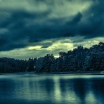 Abendlandschaft am See
