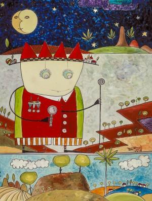 Der kleine Prinz auf Wanderschaft, Öl auf Offsetdruckplatte, 70 x 105 mm, Ralf K. Röttjer