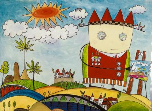 Der kleine Prinz malt gern, Öl auf Offsetdruckplatte, 70 x 105 mm, Ralf K. Röttjer