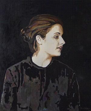 Madonna, Öl, Pigmente und Kaffee auf Leinwand, 180 x 220 mm, Ralf K. Röttjer
