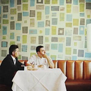 Im Restaurant Manilos, Öl, Acryl auf Leinwand, 220 x 220 mm, Ralf K. Röttjer