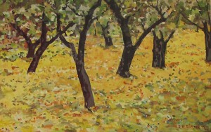 Wiesenhain, Öl, Acryl auf Leinwand, 220 x 220 mm, Ralf K. Röttjer